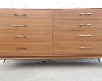 Mid Century Modern Rway Brass Legged 8 Drawer Dresser