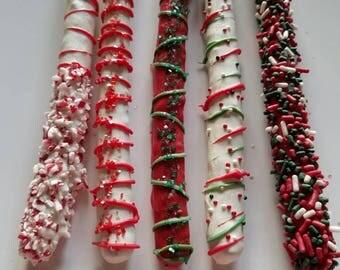 Christmas Pretzels, Chocolate Covered Pretzels, Stocking Stuffer