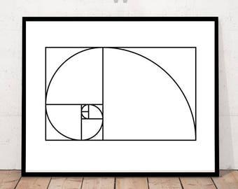 Fibonacci, Fibanacci Print, Fibonacci Spiral Print, Fibonacci Illustration, Mathematical Golden Ratio