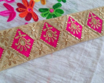 Pink Gold Embroidered Trim by the Yard Sequin Indian Laces Trims, Saree Border, Costume Trim for Bridal dresses Ethnic sari border TTNLFT334