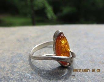 Vintage Sterling Silver Modernist Marquise Amber Ring