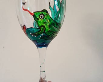 Hand painted wine glass with your own design