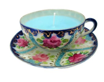 Soy Wax Tea Cup Candles, Blue Cup Candle, Vintage Tea Cup Candle, , Soy Wax Candles, Tea Cup Candles, Blue Floral Candle, Blue and Pink Cup