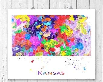 Kansas Watercolor Map #1 Art Print, Poster, Wall Art, Contemporary Art, Modern Wall Decor, Office Decor