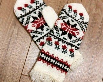 Handmade Warm Mittens, Wool Warm Mittens, Eco Warm Mittens, Handmade Winter Mittens, Women Handmade Mittens, Snowflake Wool Mittens, Mittens