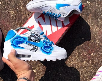 Faded blue rose and skull nike air max 90