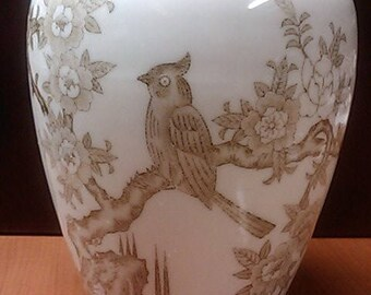 Vase with Flowering Tree and Bird. Unknown maker from mid 1900s