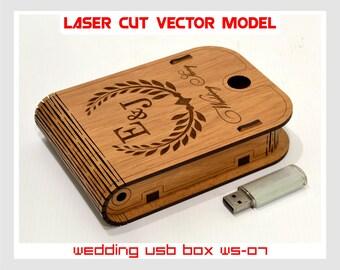 Wooden small box. Wedding USB case, Wedding USB box, Wedding story, Love story, Laser cut vector model, Instant download, WS-07