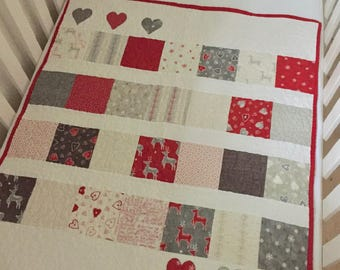 Cot Quilt, Crib Quilt, Baby Christmas Quilt, Nordic Scandinavian, Red Grey White, Unisex Baby Quilt, Cot Blanket, Mini Crib Quilt