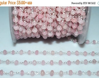 50% OFF Beautiful Rose Pink Chalcedony Rosary Beaded Chain-Chalcedony(Jade) Faceted Silver Wire Wrapped Beaded Chain , 4 mm - RB5119