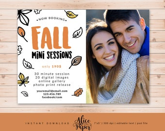Fall Mini Session Template, Autumn Template, Marketing Board Template, for Photographers, Photography Template, Photoshop Template, PSD file