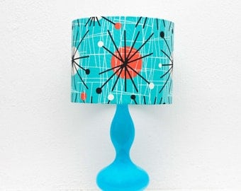 Turquoise Modern Bedside Lamp with Atomic Lampshade