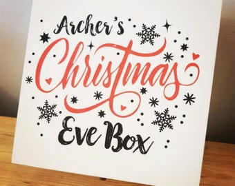 Personalised Luxury Wooden, White Painted Christmas Eve Box
