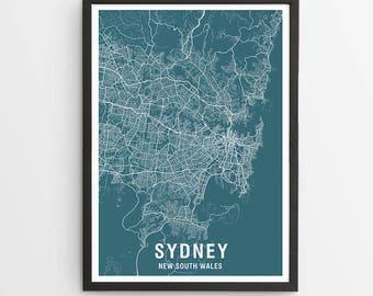 Sydney Area Map Print - Various Colours / Australia / City Print / Australian Maps / Giclee Print / Poster