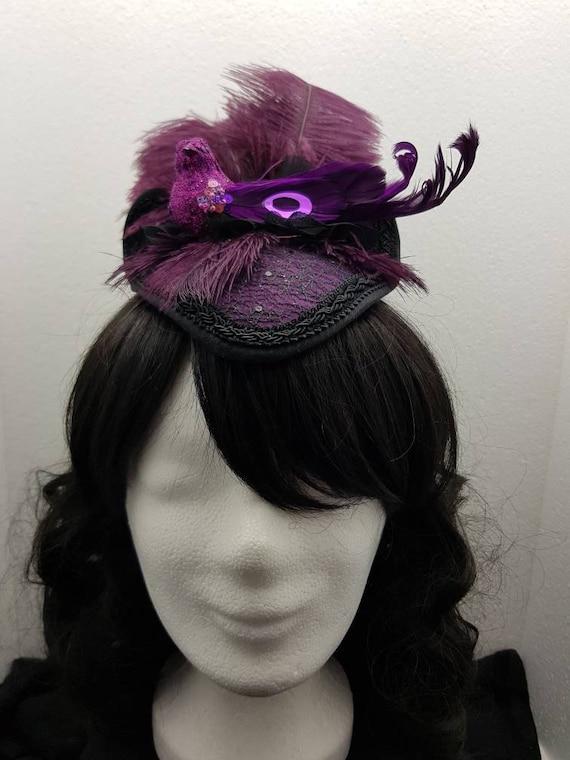 Purple bird feathers Fascinator - bird feather fascinator purple