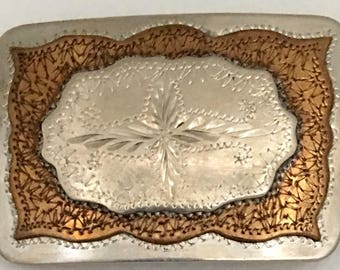 Vintage L/W handcrafted engraved german silver & bronze belt buckle western style