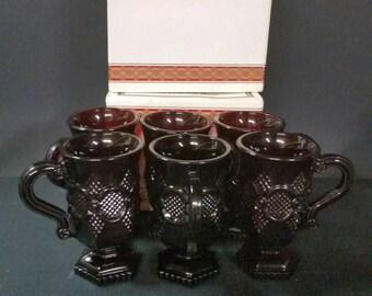 Avon Cape Cod  ruby red pedestal mugs   Set of 6 in 3 Original boxes.
