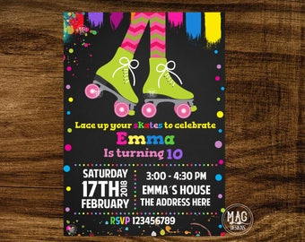 Roller Skates Invitation, Roller Skates Birthday, Roller Skates Invite, Roller Skates Party, Roller Skates Party Invite. Digital file
