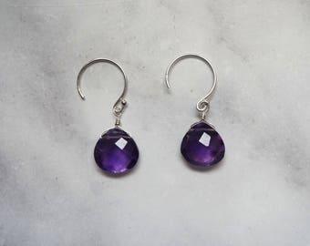 Amethyst Earrings, Gemstone Earrings, Silver Earrings, Amethyst Jewelry, Silver Amethyst, Birthstone Earrings, February Birthstone