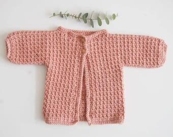 Handmade Crochet Neutral Newborn Baby Cardigan Pink, Green, Grey, Mustard, Cream