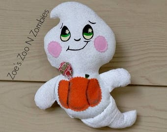 Handmade Cloth Ghost Doll Candy Treat  Holder Halloween  Decoration Softie Softy
