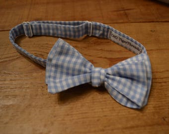 The Blue Gingham Bow Tie | Father Son, Matching Bow Ties, HANDMADE CUSTOM ORDER, Pre-Tie or Self-Tie | Mens, Boys, Toddler or Baby