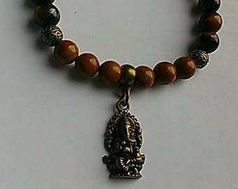 Men's 'Ganesha' Gemstone Charm Bracelet, beaded bracelets, stretch, spiritual jewelry, tiger eye, Jasper, Hindu, inexpensive gift