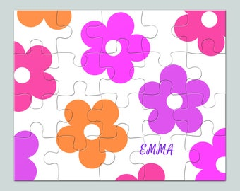 Puzzle Flowers Monogram - Name Puzzle - Children Puzzle - Jigsaw Puzzle - Kids Puzzle - Personalized Gift - Name Gift