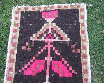 Turkish Rug 1x3 Pink Wool Pile Small Vintage Rug Hand Knotted Semi Antique Area Rug - ALBA0103
