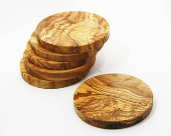 Set of  6 olive wood coasters, decorational rustic pieces, beautiful housewarming gift, christmas present