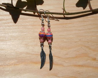 Earrings - coral and soft pink - glass bead and silver feather