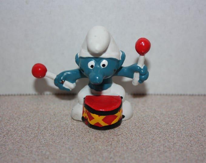 Vintage Smurfs Drummer Smurf Figure 1981 PVC Toy Figure Peyo Schleich