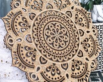 80cm Boho Hand Painted Wooden Henna Mandala II Wall Hanging (Bohemian Home Decor/Art/Interior Design)