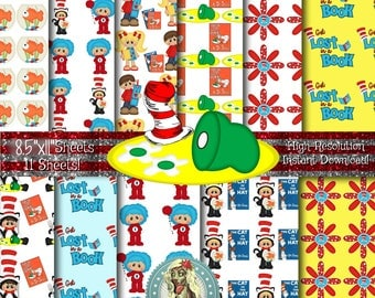 Dr. Suess Digital Paper Pack, Green Eggs and Ham, Cat in the Hat, Thing 1 Thing 2, Scrapbook Paper, Digital Paper, Digital Paper Pack, Read