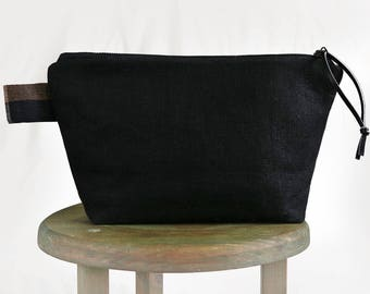 Black linen Cosmetic Bag, Linen Toiletry Bag, Mens Wash Bag, Gift for Men, Cosmetic Storage, Travel Bag