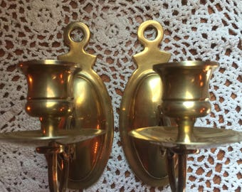 Vintage Brass Candle Sconces, Brass Candle Holders