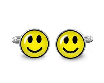 Smiley Cuff Links Happy Face Cuff Links 16mm Wedding Cufflinks Gift for Men Groomsmen Good Luck Cuff links