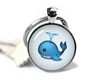 Blue Whale Keychain Emoji Blue Whale Key Ring Emoji KeyFob Kawaii Keychain EMoji Jewelry