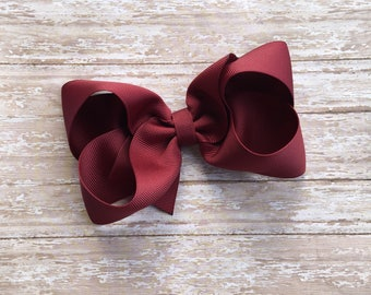 Burgundy Boutique hair bow, hair bows, solid color hair bows, large hair bows, Thanksgiving hair bows, holiday hair bow, boutique bow,