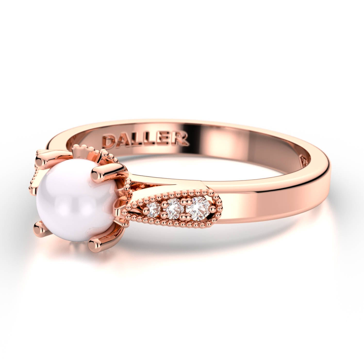 Pearl Wedding Ring: Pearl Engagement Ring Rose Gold Pearl Wedding Ring Pearl
