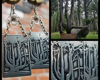 Octopus Tree surgical and stainless steel charm earrings - Netarts Bay Oregon Coast