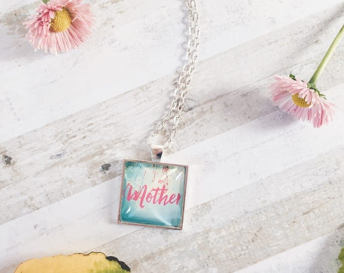floral pendant necklace, personalised name chain, name necklace, name pendant, photo pendant necklace, silver plated necklace