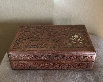 Vintage Carved wooden box, wood box, made in India, wooden trinket box, treasure box, jewelry box, solid wood, carved wood,