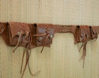 Leather utility belt, festival hip bag, boho chic, waist bag, goa, festival fashion, burning man, hip bag,