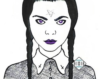 Wednesday Addams / goth / gothic / illustration