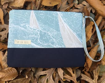 Large Katrina pouch, sailboats and navy blue