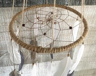 Large Grey, White & Brown Mobile Dream Catcher