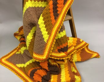 Fantastic Large 1970's Mint Afghan in Yellow, Orange, Brown and Black