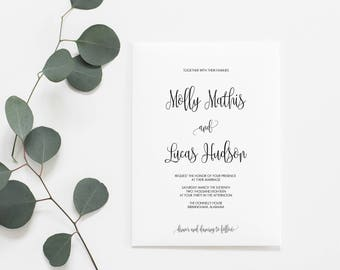 Wedding Invitations, Printable Wedding Invitations, Calligraphy Wedding Invitations, Wedding Invitation Set, DIY Wedding Invitations, Modern