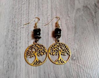 "Earrings dangling pagan ""Immortalia"", jade, semi precious, Bohemian, hippie, wicca, tree of life"